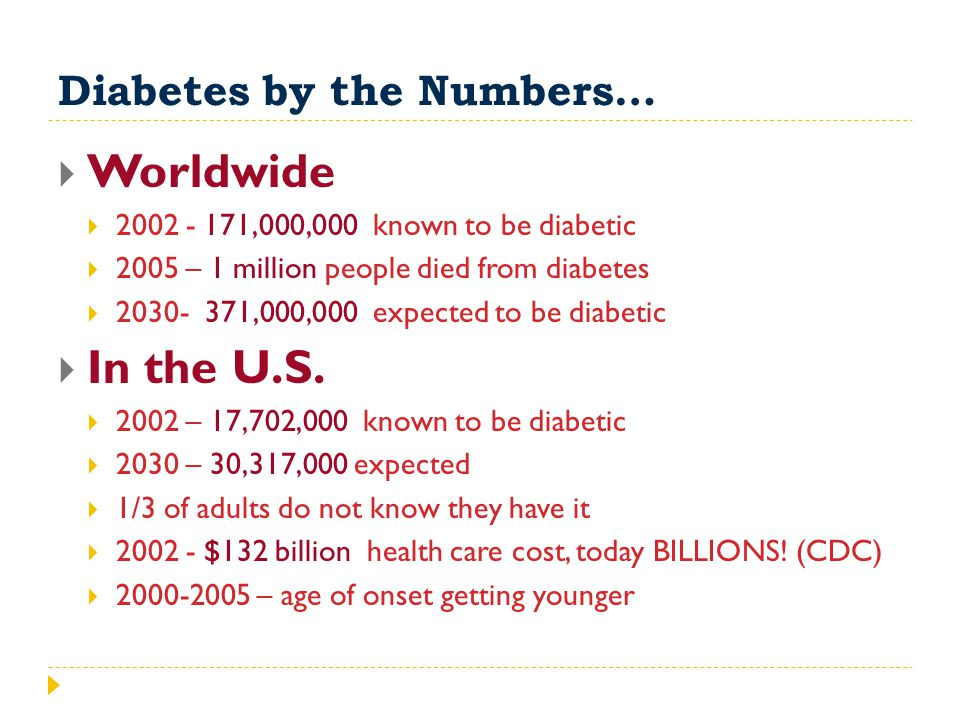 Diabetes by the Numbers…  Worldwide  2002 - 171,000,000 known to be diabetic  2005 – 1 million people died from diabetes  2030- 371,000,000 expect