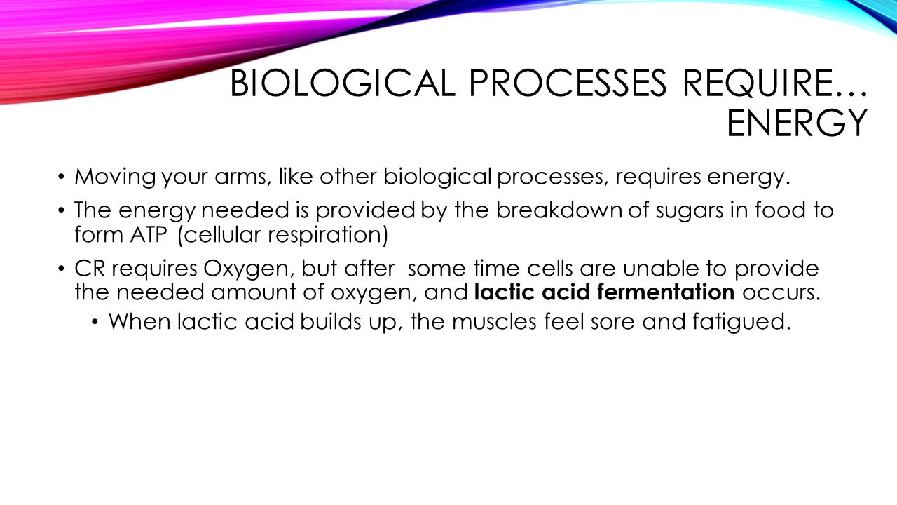 BIOLOGICAL PROCESSES REQUIRE… ENERGY Moving your arms, like other biological processes, requires energy. The energy needed is provided by the breakdow