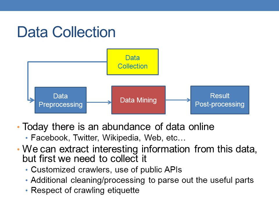 Data Collection Today there is an abundance of data online Facebook, Twitter, Wikipedia, Web, etc… We can extract interesting information from this data, but first we need to collect it Customized crawlers, use of public APIs Additional cleaning/processing to parse out the useful parts Respect of crawling etiquette Data Preprocessing Data Mining Result Post-processing Data Collection