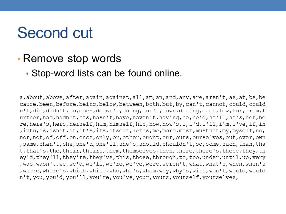 Second cut Remove stop words Stop-word lists can be found online. a,about,above,after,again,against,all,am,an,and,any,are,aren't,as,at,be,be cause,bee