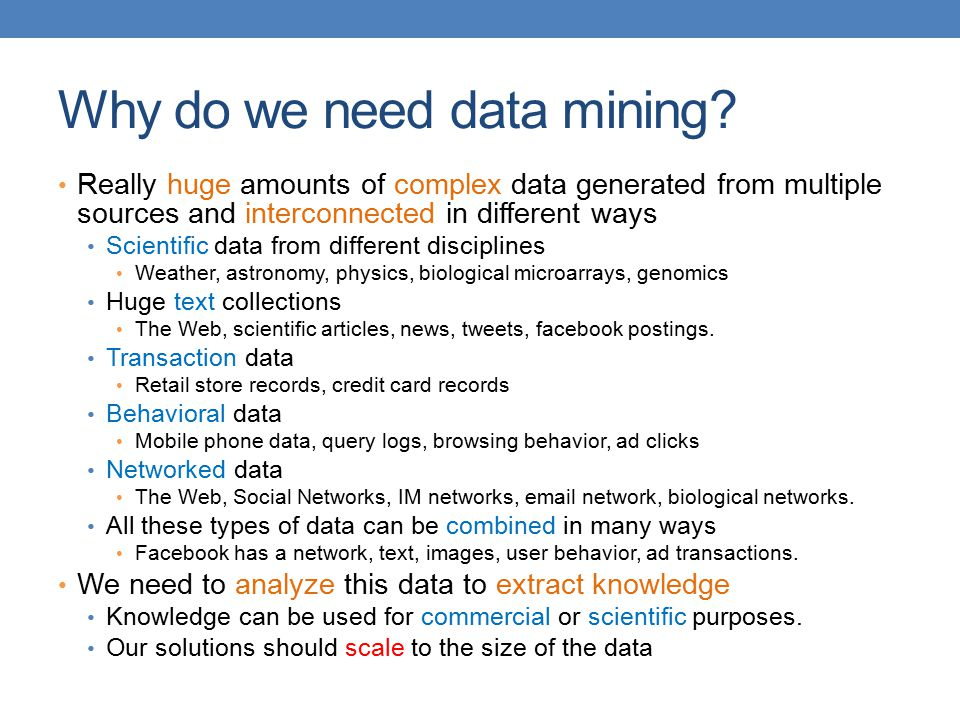 Why do we need data mining.
