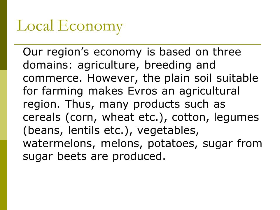 Local Economy Our region's economy is based on three domains: agriculture, breeding and commerce.