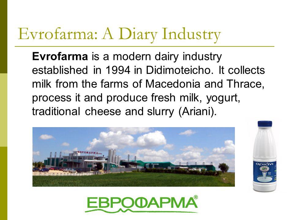 Evrofarma is a modern dairy industry established in 1994 in Didimoteicho.