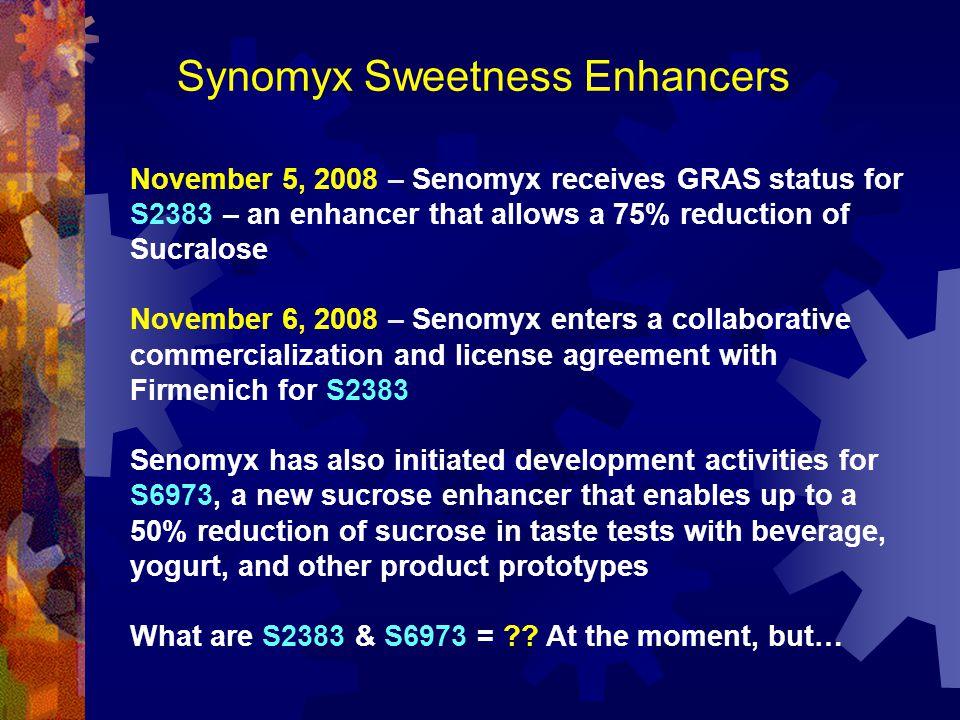 Synomyx Sweetness Enhancers November 5, 2008 – Senomyx receives GRAS status for S2383 – an enhancer that allows a 75% reduction of Sucralose November
