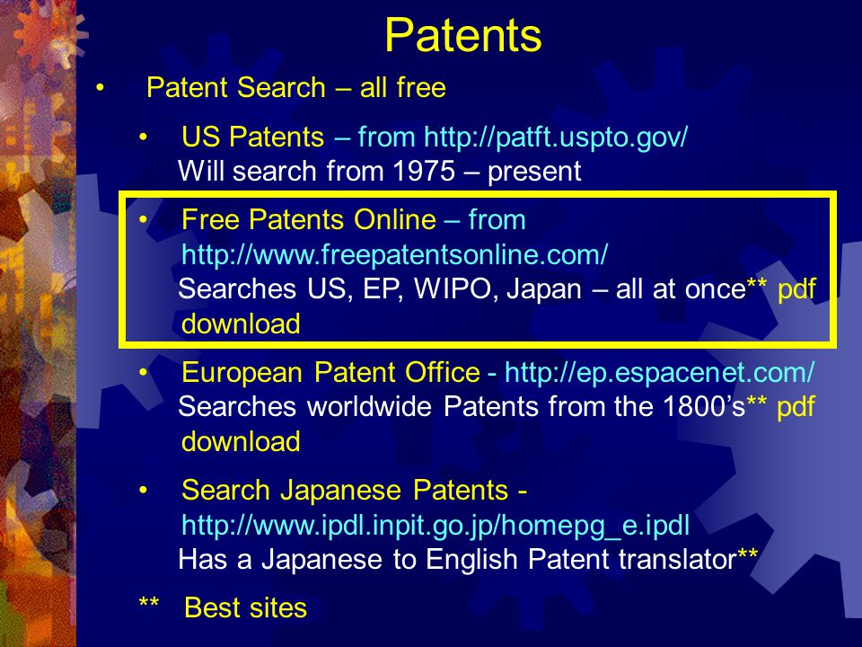 Patents Patent Search – all free US Patents – from http://patft.uspto.gov/ Will search from 1975 – present Free Patents Online – from http://www.freep