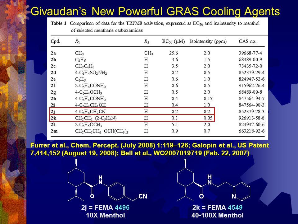 2j = FEMA 4496 10X Menthol 2k = FEMA 4549 40-100X Menthol Givaudan's New Powerful GRAS Cooling Agents Furrer et al., Chem. Percept. (July 2008) 1:119–