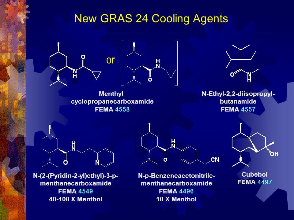 New GRAS 24 Cooling Agents N-Ethyl-2,2-diisopropyl- butanamide FEMA 4557 Menthyl cyclopropanecarboxamide FEMA 4558 Cubebol FEMA 4497 N-(2-(Pyridin-2-y