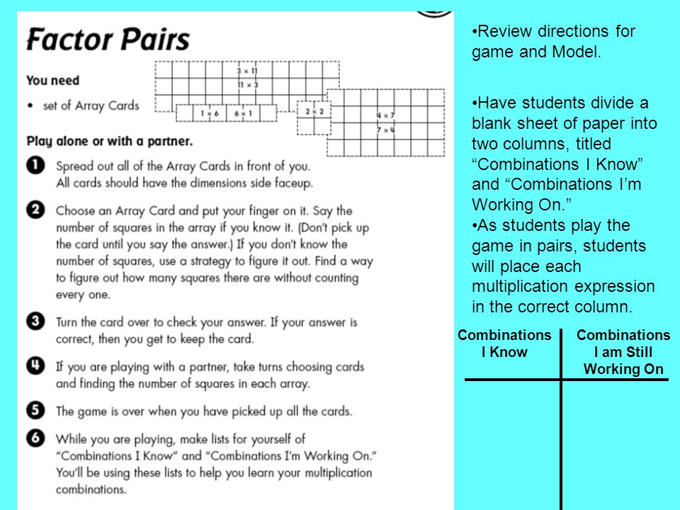 "Review directions for game and Model. Have students divide a blank sheet of paper into two columns, titled ""Combinations I Know"" and ""Combinations I'm"