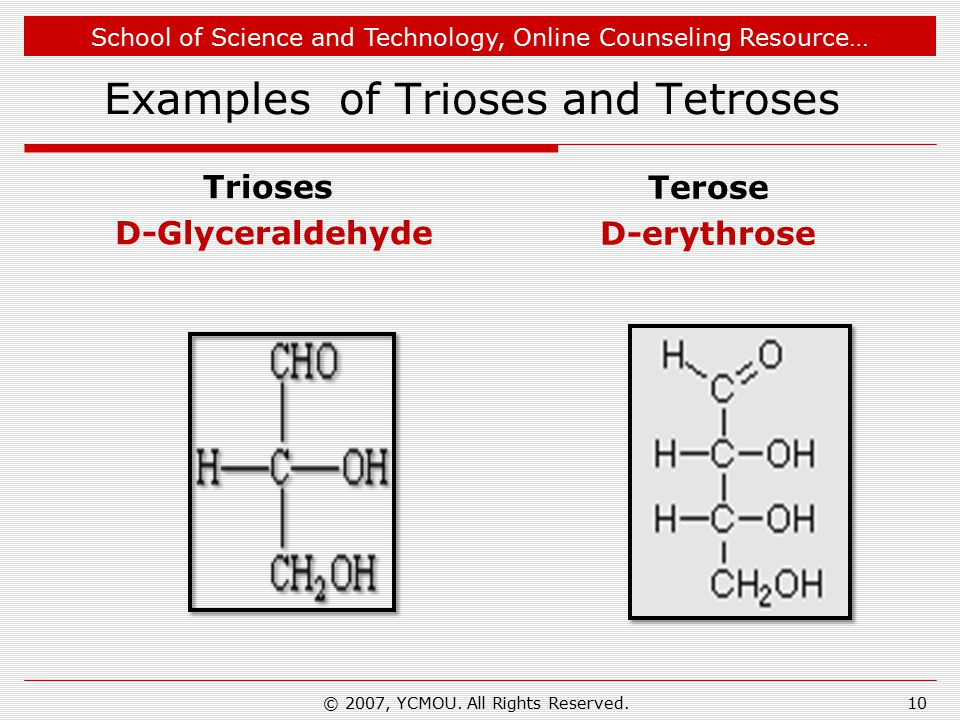 School of Science and Technology, Online Counseling Resource… Examples of Trioses and Tetroses Trioses D-Glyceraldehyde Terose D-erythrose © 2007, YCMOU.