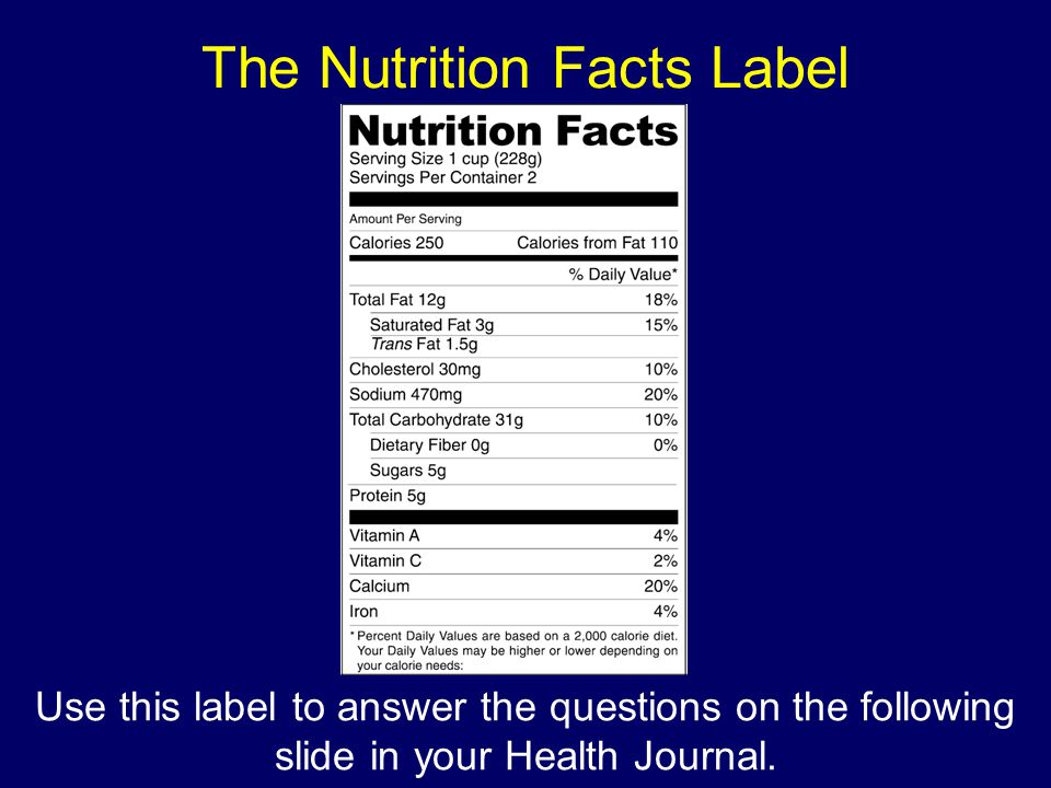 The Nutrition Facts Label Use this label to answer the questions on the following slide in your Health Journal.