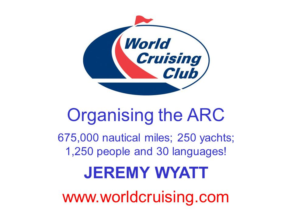 www.worldcruising.com Organising the ARC 675,000 nautical miles; 250 yachts; 1,250 people and 30 languages.