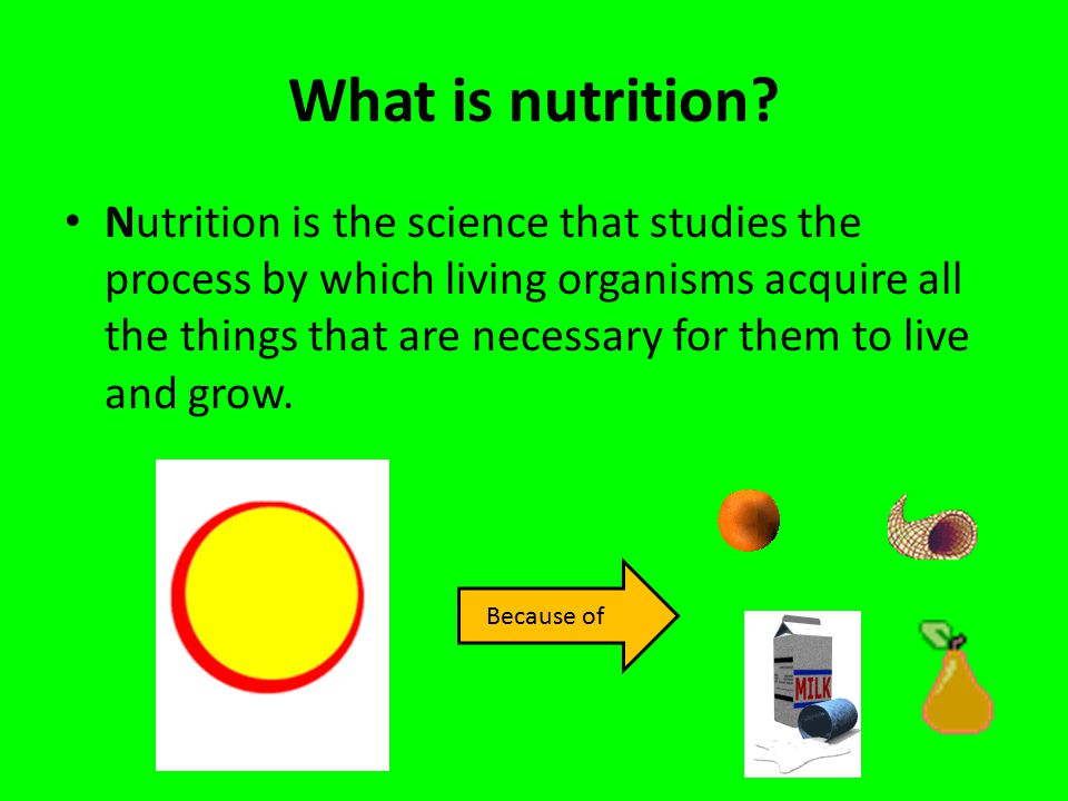 What is nutrition? Nutrition is the science that studies the process by which living organisms acquire all the things that are necessary for them to l