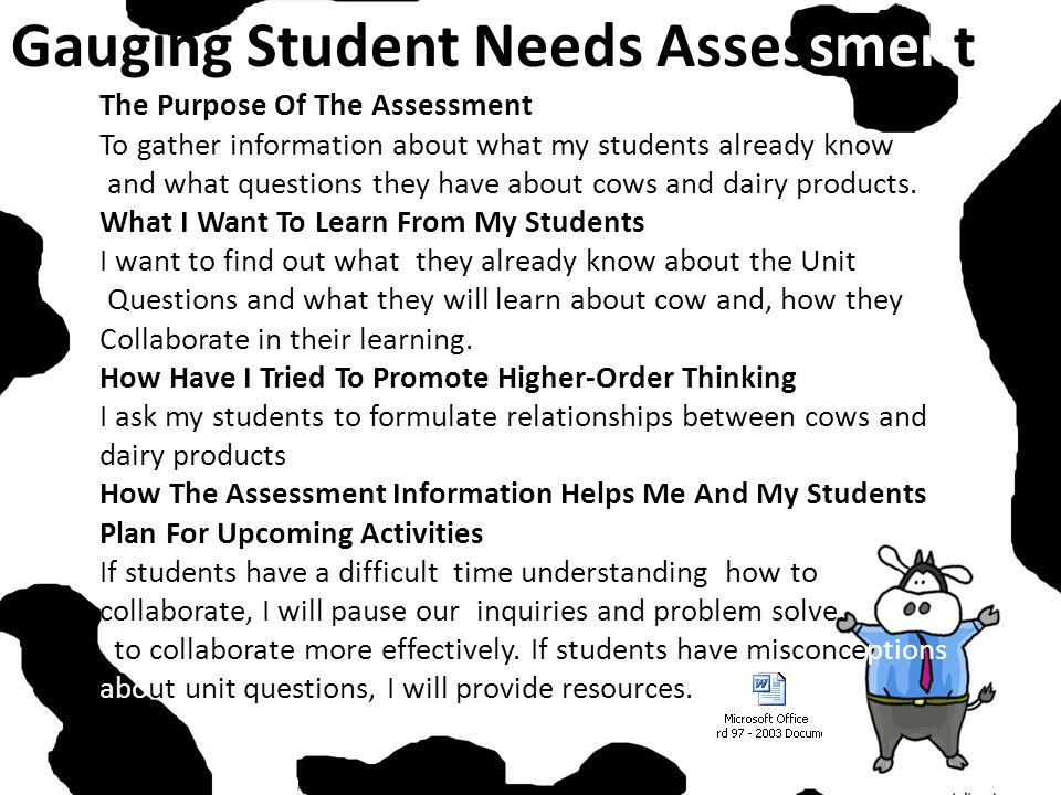Gauging Student Needs Assessment The Purpose Of The Assessment To gather information about what my students already know and what questions they have about cows and dairy products.