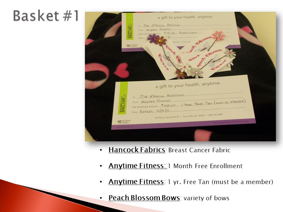 Hancock Fabrics : Breast Cancer Fabric Anytime Fitness: 1 Month Free Enrollment Anytime Fitness: 1 yr.
