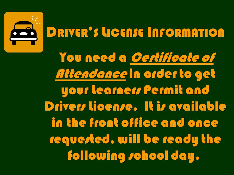 D RIVER ' S L ICENSE I NFORMATION You need a Certificate of Attendance in order to get your Learners Permit and Drivers License.