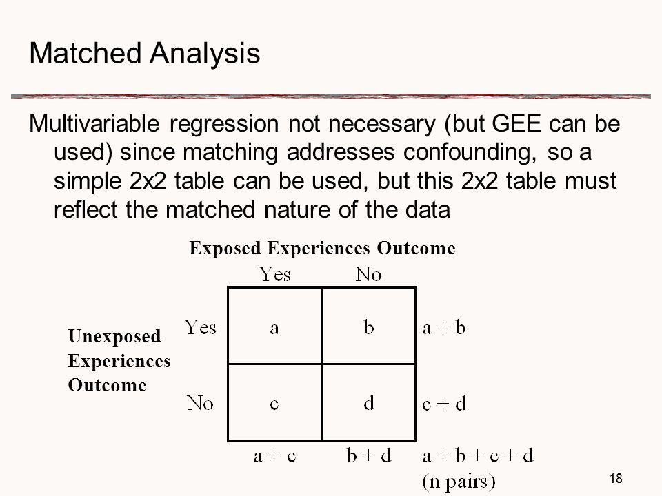Matched Analysis Multivariable regression not necessary (but GEE can be used) since matching addresses confounding, so a simple 2x2 table can be used, but this 2x2 table must reflect the matched nature of the data 18 Exposed Experiences Outcome Unexposed Experiences Outcome