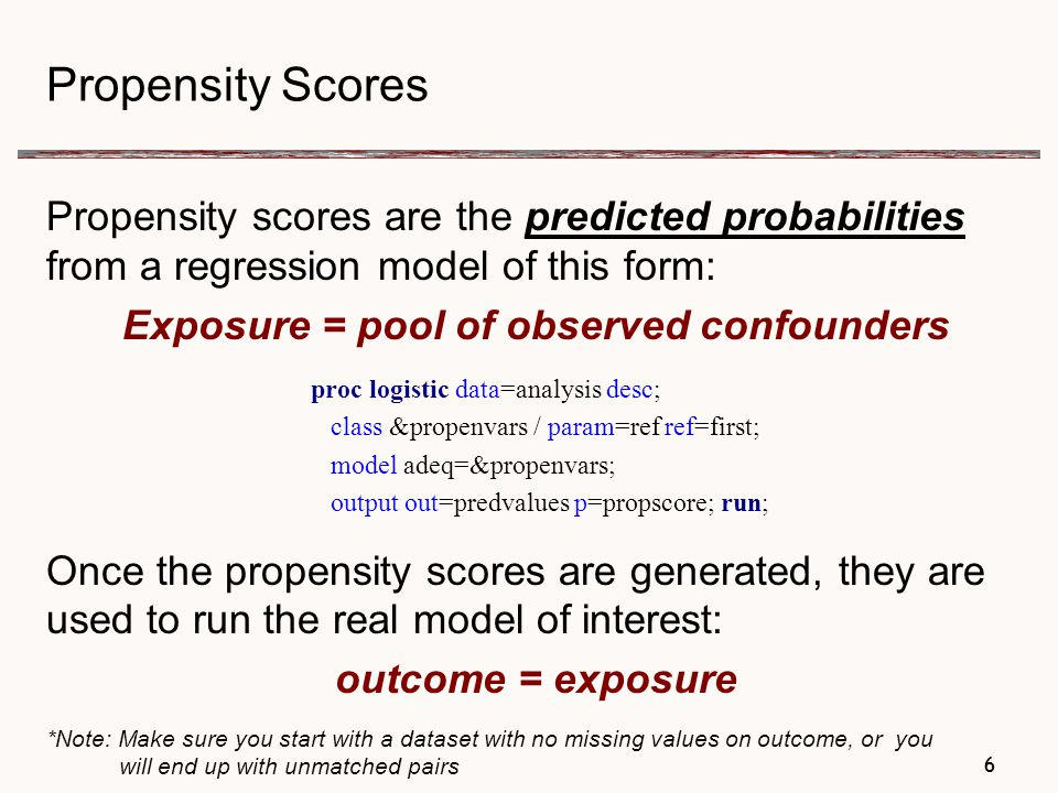 27 Creating Propensity Scores for the Medical Home: 3 Versions Pool of Variables Used to Create Propensity scores— Predicted Probabilities from Modeling: medical home (Y/N) = pool of variables # obs.