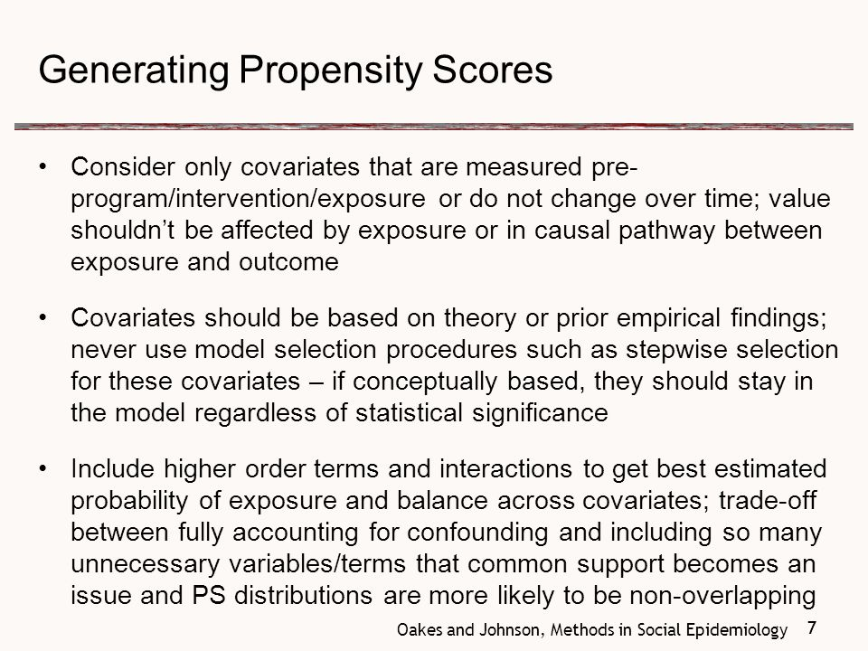 8 Propensity Score Distributions Examine the distribution of propensity scores in exposed and unexposed If there is not enough overlap (not enough common support ), then these data cannot be used to answer the research question Observations with no overlap cannot be used in matched analysis If there are areas that don't overlap, the matched sample may not be representative (examine characteristics of excluded individuals to assess this) 8
