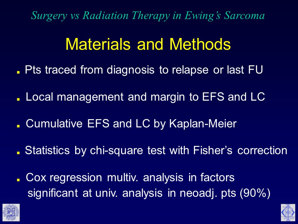 Surgery vs Radiation Therapy in Ewing's Sarcoma Materials and Methods. Pts traced from diagnosis to relapse or last FU. Local management and margin to