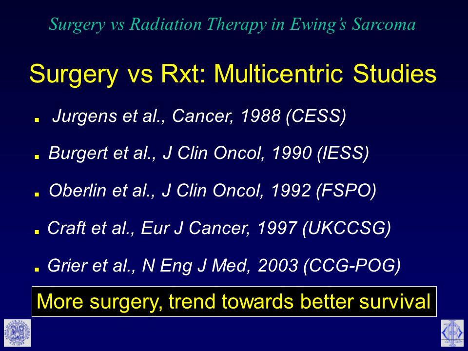 Surgery vs Rxt: Multicentric Studies. Jurgens et al., Cancer, 1988 (CESS).
