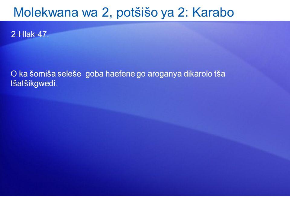 Molekwana wa 2, potšišo ya 2: Karabo 2-Hlak-47.