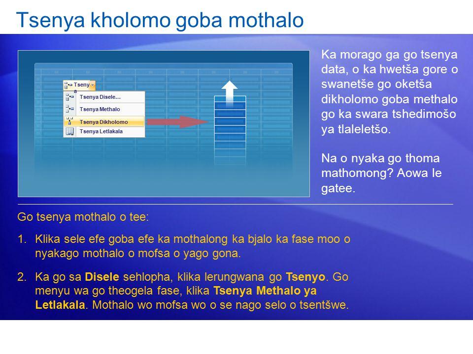 Tsenya kholomo goba mothalo Ka morago ga go tsenya data, o ka hwetša gore o swanetše go oketša dikholomo goba methalo go ka swara tshedimošo ya tlaleletšo.