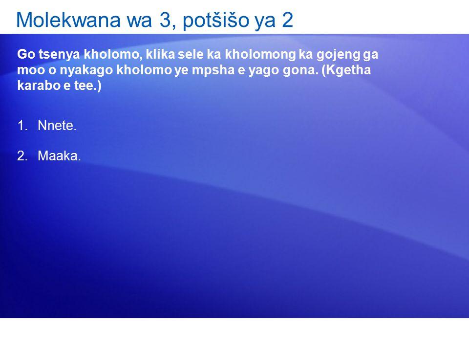 Molekwana wa 3, potšišo ya 2 Go tsenya kholomo, klika sele ka kholomong ka gojeng ga moo o nyakago kholomo ye mpsha e yago gona.
