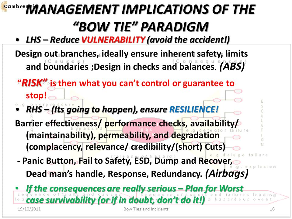 MANAGEMENT IMPLICATIONS OF THE BOW TIE PARADIGM LHS – Reduce VULNERABILITY (avoid the accident!)LHS – Reduce VULNERABILITY (avoid the accident!) Design out branches, ideally ensure inherent safety, limits and boundaries ;Design in checks and balances.