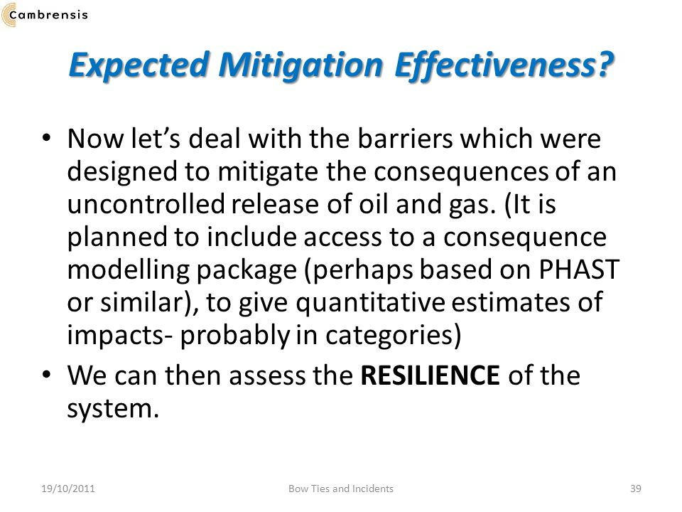 Expected Mitigation Effectiveness.