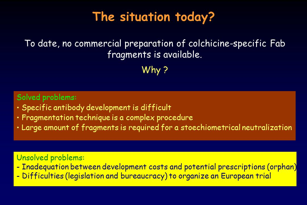 The situation today? Solved problems: Specific antibody development is difficult Fragmentation technique is a complex procedure Large amount of fragme