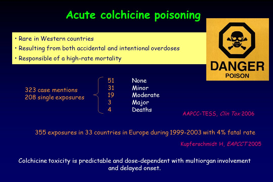 Acute colchicine poisoning Rare in Western countries Resulting from both accidental and intentional overdoses Responsible of a high-rate mortality Col