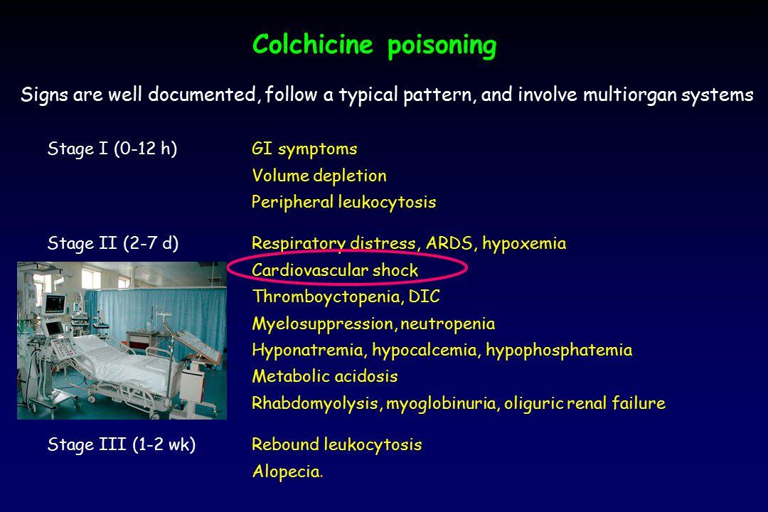 Colchicine poisoning Stage I (0-12 h)GI symptoms Volume depletion Peripheral leukocytosis Stage II (2-7 d)Respiratory distress, ARDS, hypoxemia Cardio