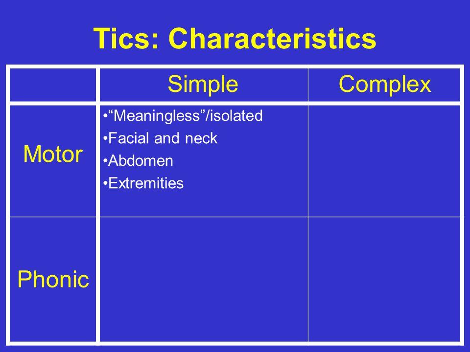 Tics: Characteristics SimpleComplex Motor Phonic