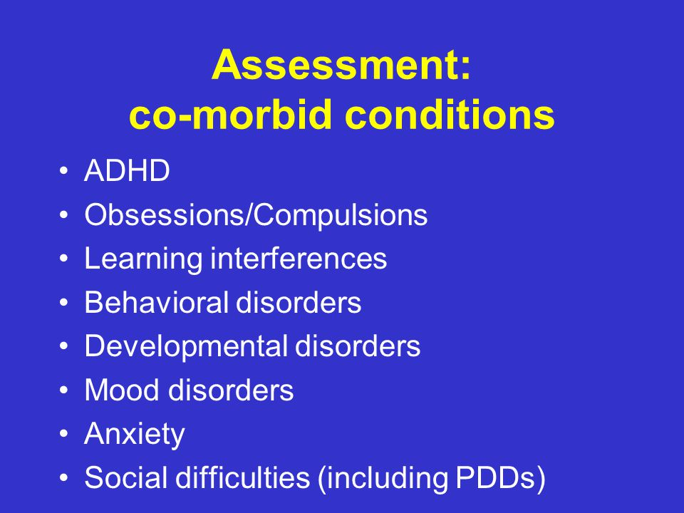 Identification – comorbid conditions KEY POINT.
