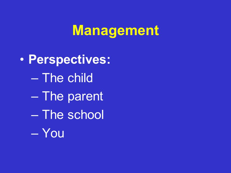 Management Lumpers problem problem problem problem problem Adapted from presentation by John Walkup, MD Tourette