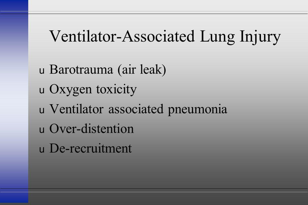 Ventilator-Associated Lung Injury u Barotrauma (air leak) u Oxygen toxicity u Ventilator associated pneumonia u Over-distention u De-recruitment
