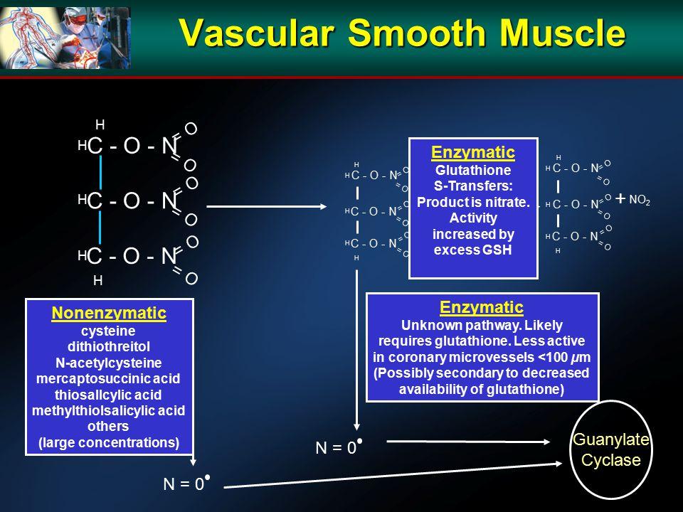 Vascular Smooth Muscle C - O - N H H H H H = O Nonenzymatic cysteine dithiothreitol N-acetylcysteine mercaptosuccinic acid thiosallcylic acid methylth