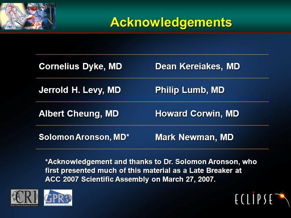 Acknowledgements Cornelius Dyke, MD Dean Kereiakes, MD Jerrold H.