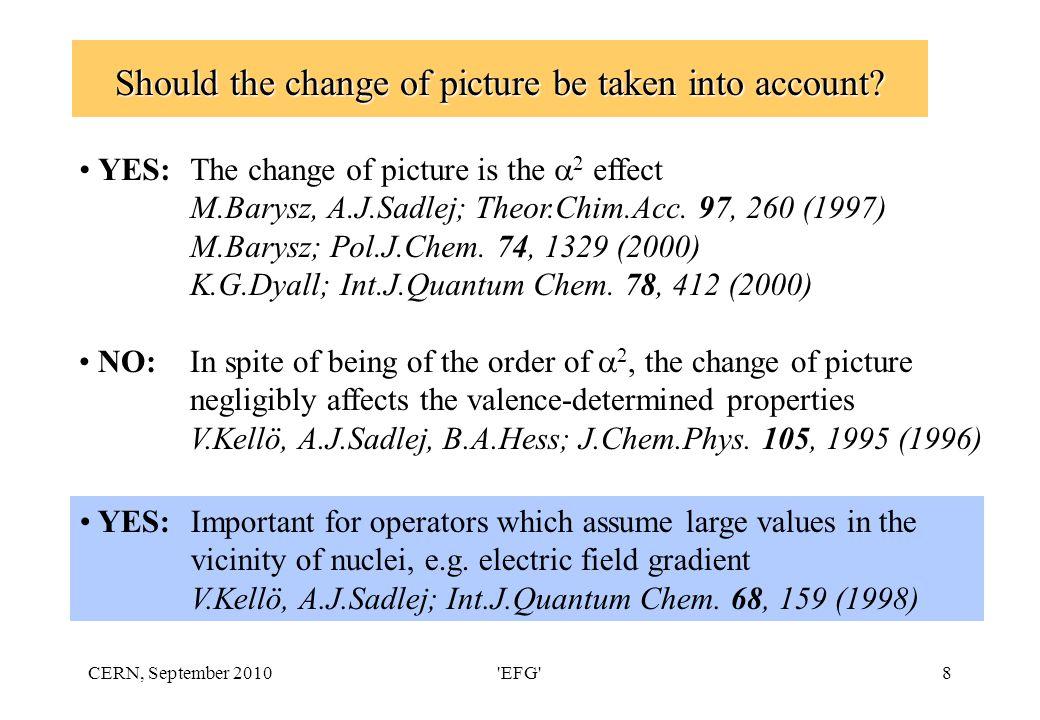 CERN, September 2010 EFG 9 Point charge nuclear quadrupole moment (PCNQM) model M.Pernpointer, M.Seth, P.Schwerdtfeger; J.Chem.Phys 108, 6722 (1998) z +ζ+ζ+ζ+ζ-2ζ d y z +ζ+ζ +ζ+ζ d -ζ/2 x d=10 -5 au ζ=10 4 au Q=10 -6 au Electric field gradient (EFG)