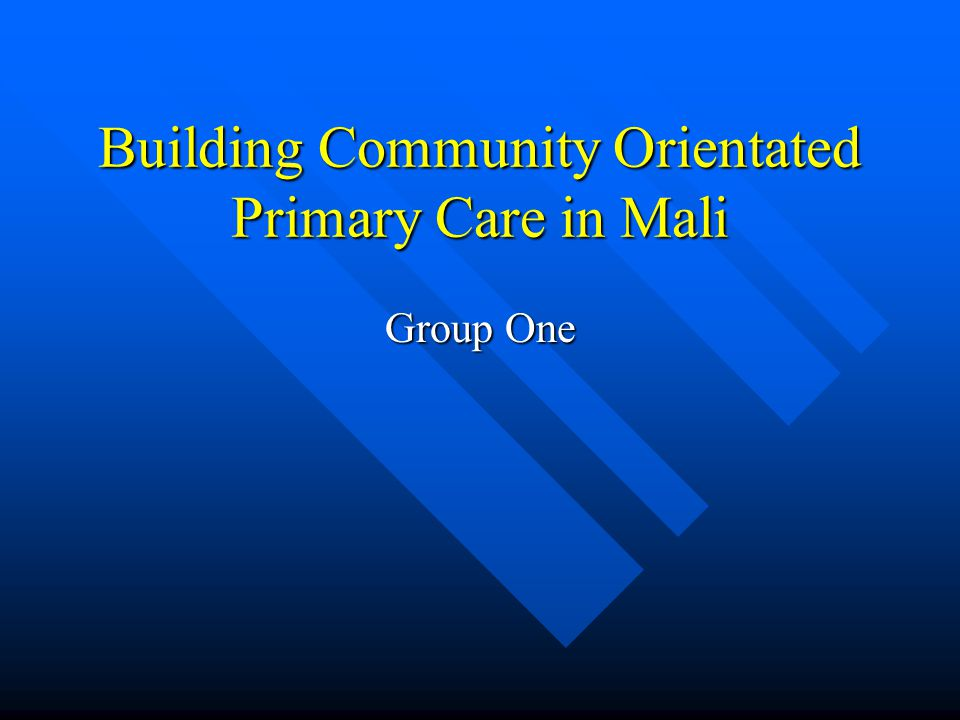 Building Community Orientated Primary Care in Mali Group One