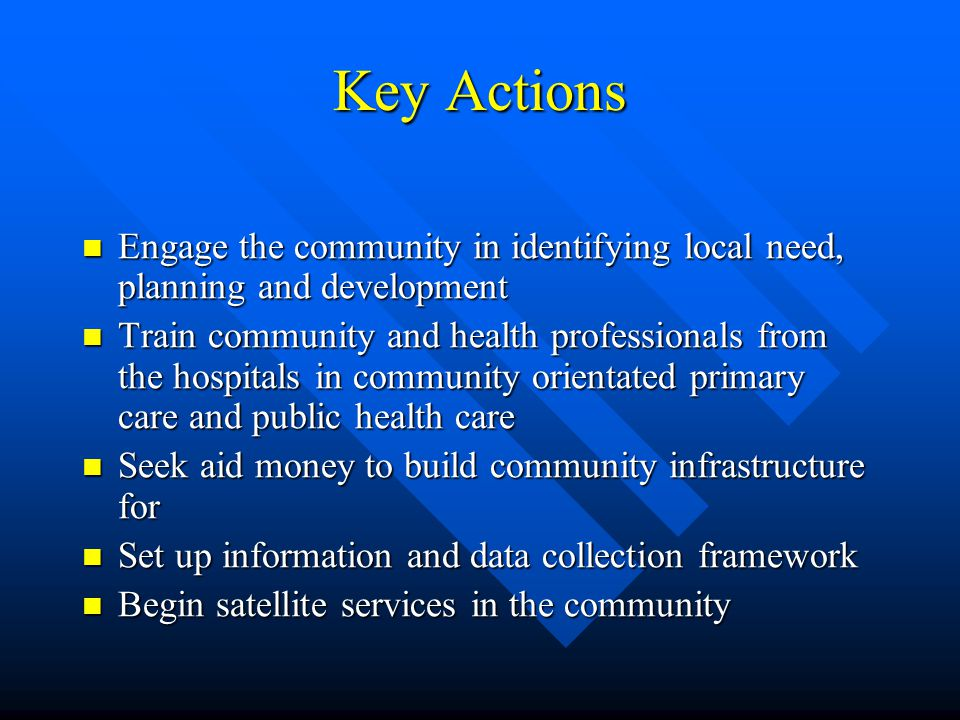 Key Actions Engage the community in identifying local need, planning and development Engage the community in identifying local need, planning and deve