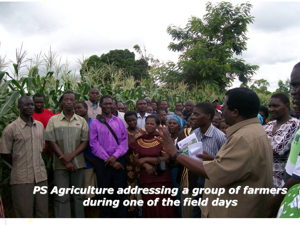 PS Agriculture addressing a group of farmers during one of the field days