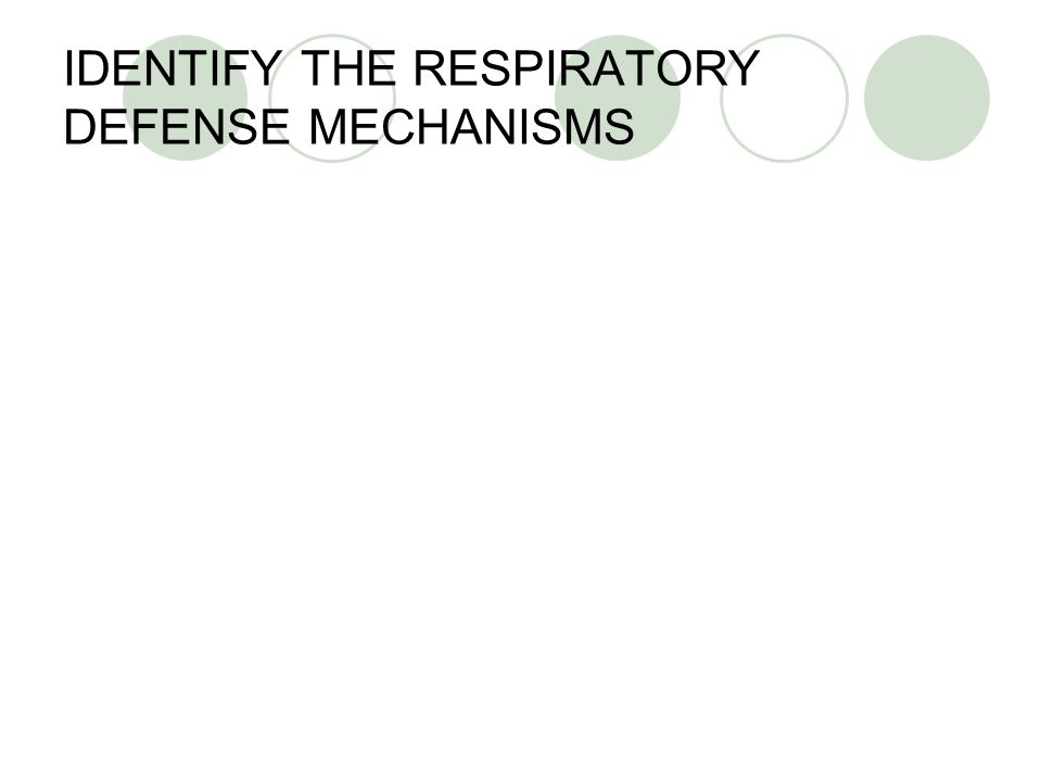 IDENTIFY THE RESPIRATORY DEFENSE MECHANISMS