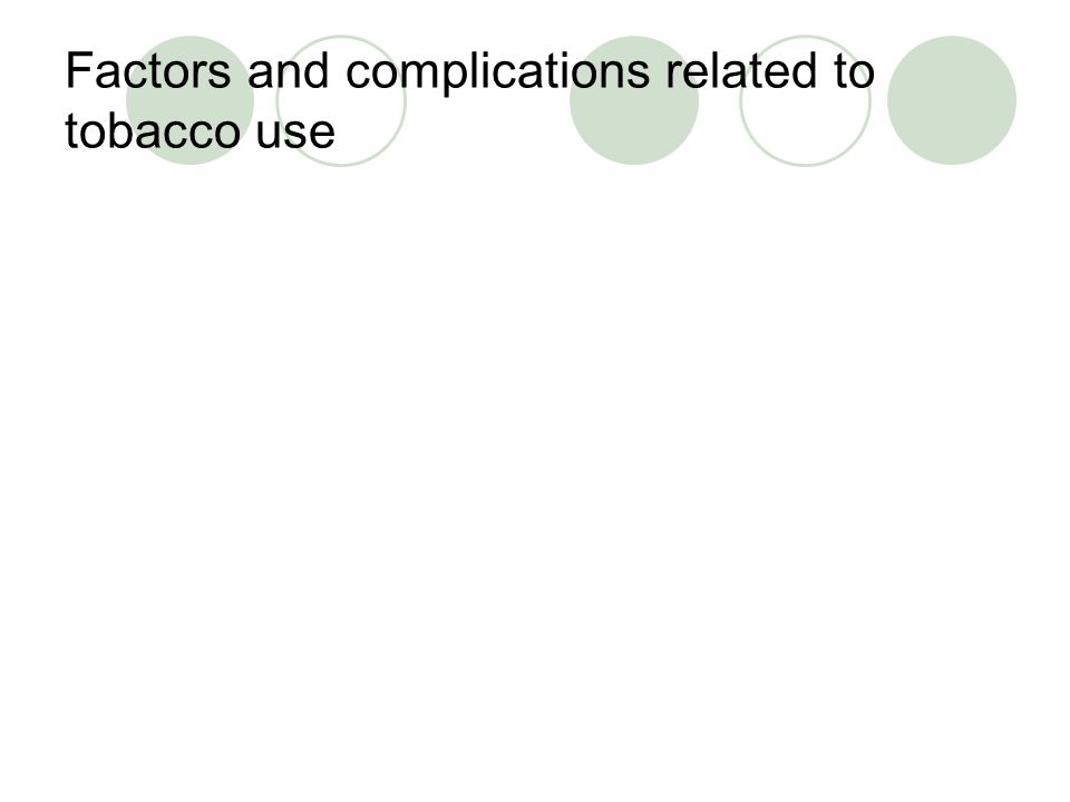 Factors and complications related to tobacco use