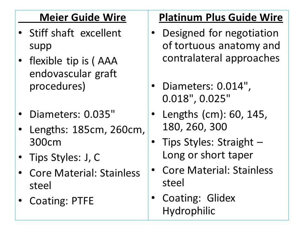 Meier Guide Wire Stiff shaft excellent supp flexible tip is ( AAA endovascular graft procedures) Diameters: 0.035