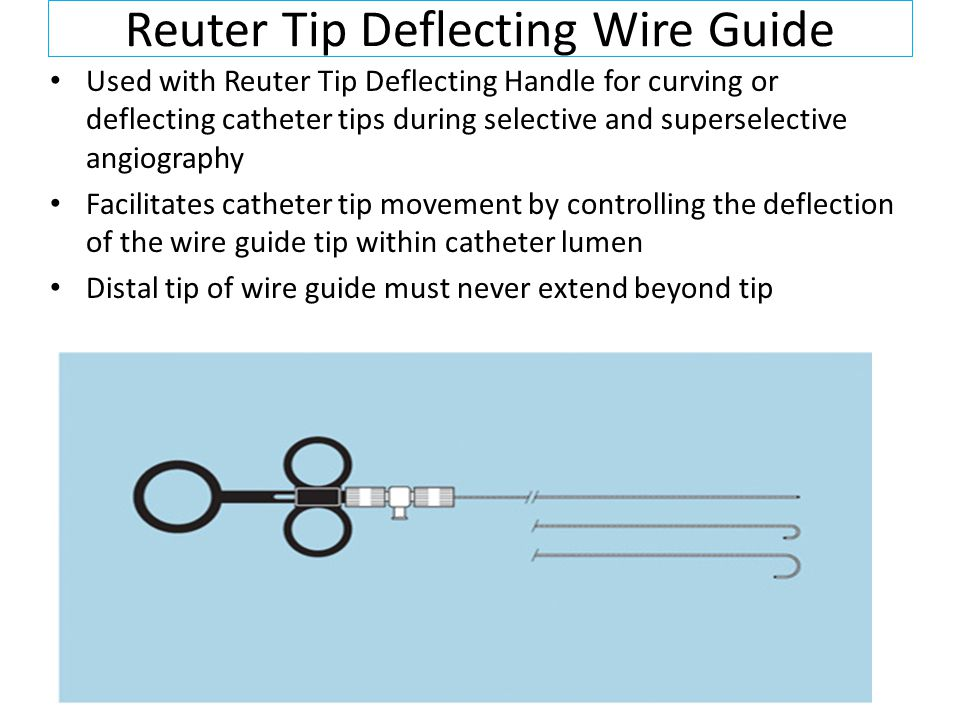 Reuter Tip Deflecting Wire Guide Used with Reuter Tip Deflecting Handle for curving or deflecting catheter tips during selective and superselective angiography Facilitates catheter tip movement by controlling the deflection of the wire guide tip within catheter lumen Distal tip of wire guide must never extend beyond tip