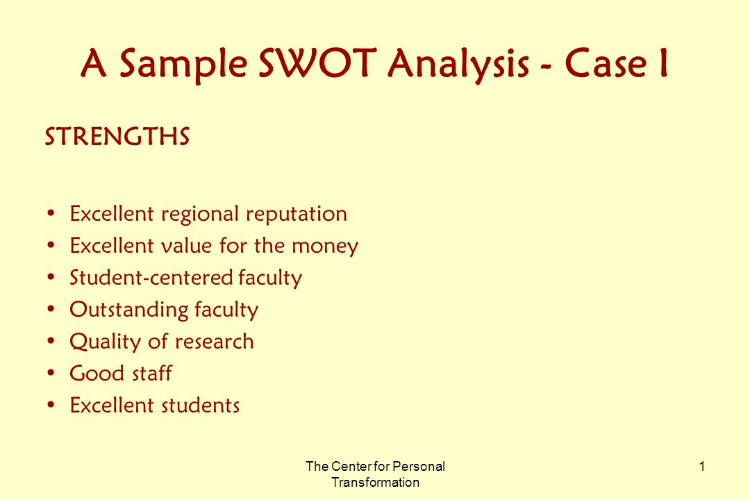 The Center For Personal Transformation  A Sample Swot Analysis