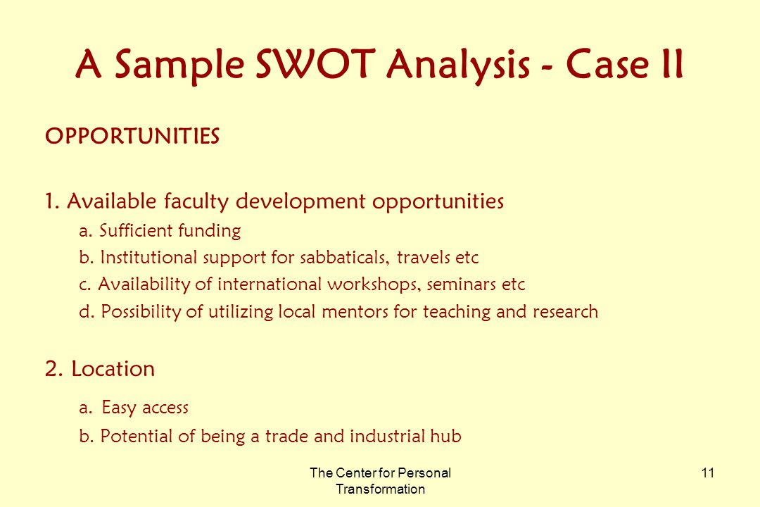 The Center for Personal Transformation 11 A Sample SWOT Analysis - Case II OPPORTUNITIES 1.