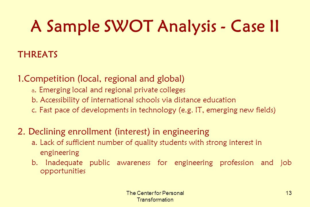 The Center for Personal Transformation 13 A Sample SWOT Analysis - Case II THREATS 1.Competition (local, regional and global) a.