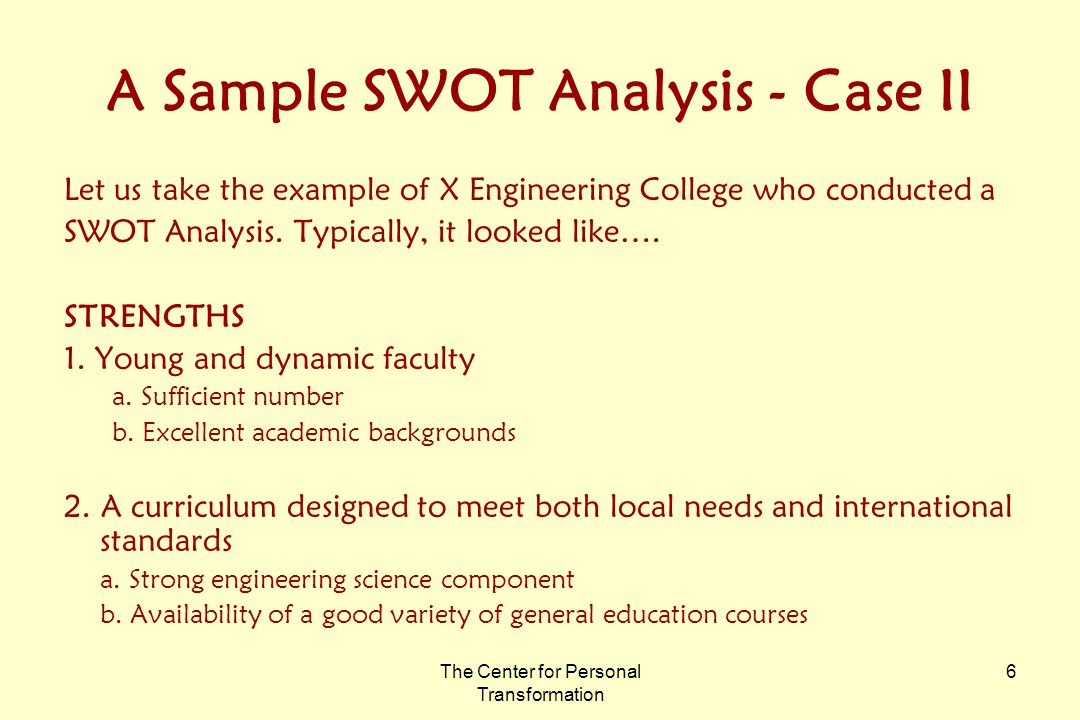 examples of swot cases